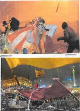 "Orange Revolution, 2005. Viktor Yushchenko elected as president and Ukrainian people's ""victory"" over corrupt leadership 