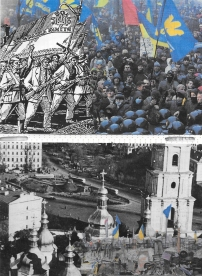"Ва краще життя. Ukrainians have struggled for their entire existence. These events are cyclical, continuous problems arise. | Independence Square, Kiev. Protester Barricades, Kiev. Will this independence ever be ""reality""? Who is really free?"