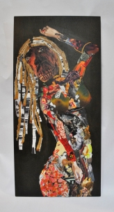 "carnal abomination | mixed print media and fabric, glue, matte medium on wood | 19 3/4"" x 42 1/2"""